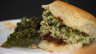 """Guinea Hog"" Pulled Pork Sandwich with Kale Slaw Topping"