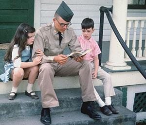 Veteran on porch