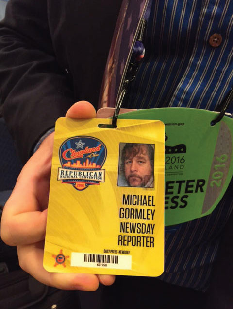 Mike Gormley, Newsday reporter, RNC badge