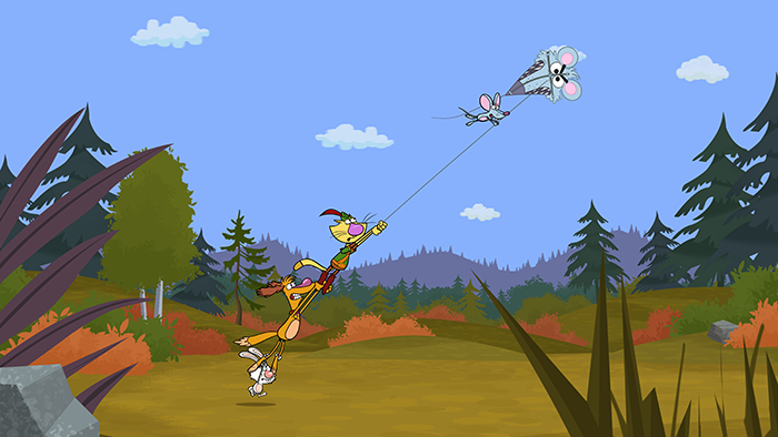 nature cat and his pals are enjoying a windy day by flying kites in ...
