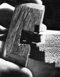 "The ""jump-aver"" or ""grasshopper""gauge used to mark thickness on tongue-andgroove flooring."