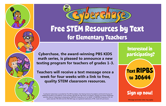 JOIN THE NEW CYBERCHASE TEXT-TO-TEACHER PROGRAM!