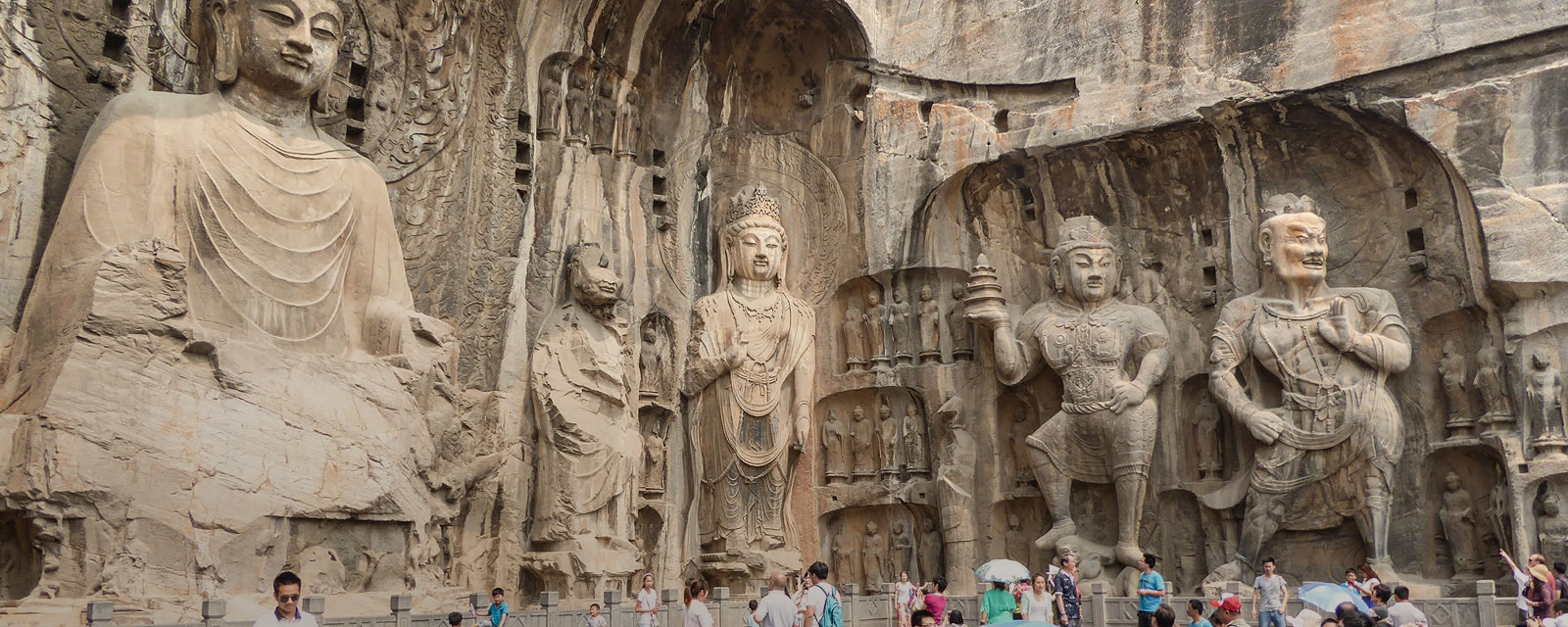 Longmen Caves with giant Buddhist sculptures near Luoyang