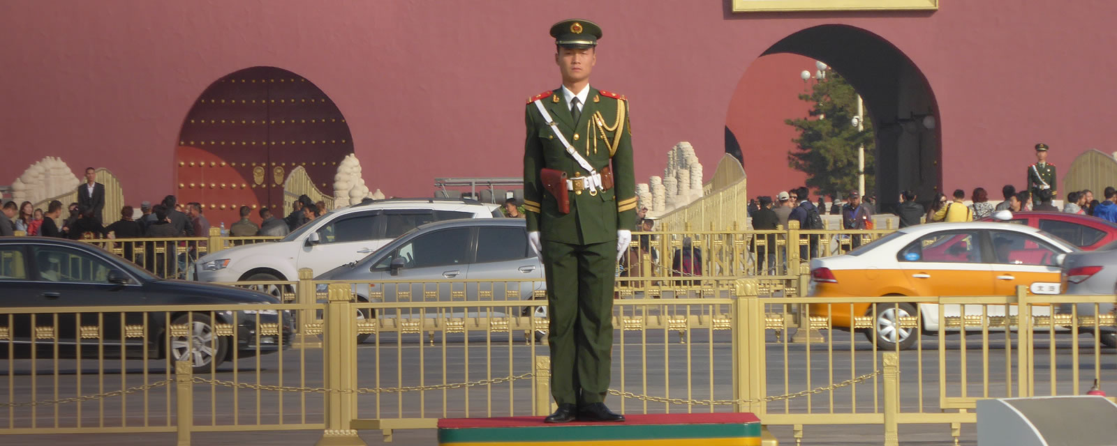 A soldier standing guard in Tiananmen Square, Beijing