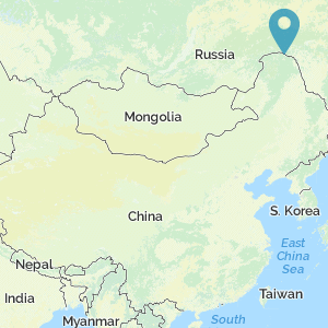 Map of China showing the location of Albazin