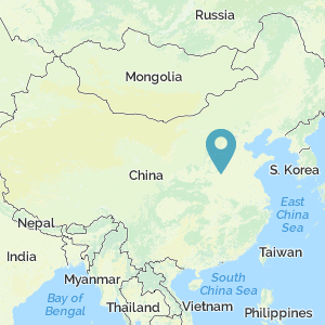 Map of China with marker at location of Battle of Mu Ye