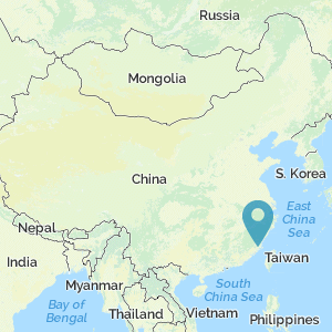 Map of China showing location of Fuzhou