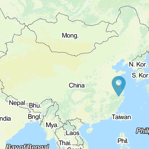 Map of China showing location of Guangzhou