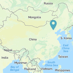 Map of China showing the location of the Great Wall of China