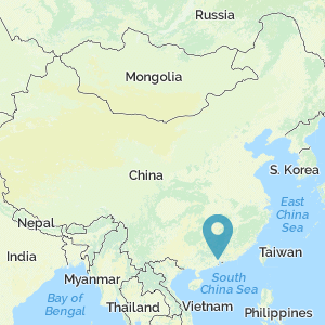 Map of China showing the location of Canton/Guangzhou