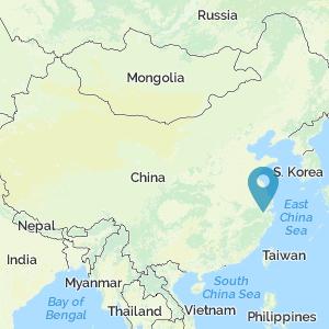 Map showing a location of Hangzhou