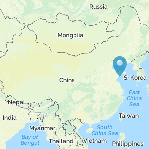 Map of China showing location of Qingdao