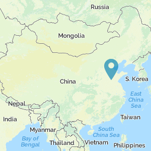 Map of China with marker at location of lu, qufu