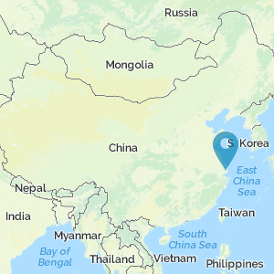 Map of China showing location of Shanghai