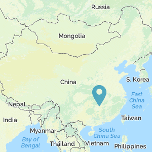 Map of China showing location of Shaoshan