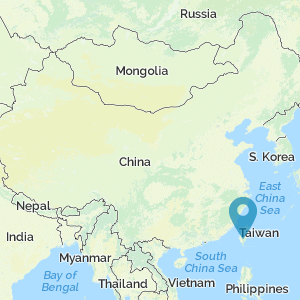 Map of China showing location of Taiwan