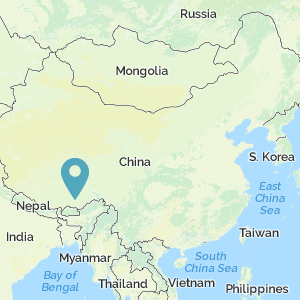Map of China showing location of Tibet