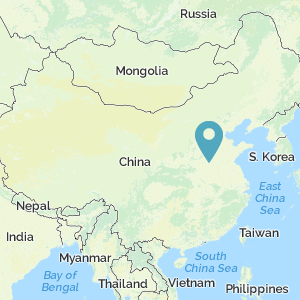 Map of China with marker at Yellow River Valley
