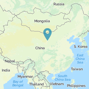 Map of China showing location of Yinchuan