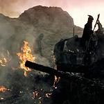 burning ruins