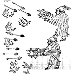 line drawing of 2 men launching arrows from baskets