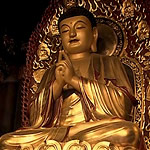 gold-painted Buddhist statues