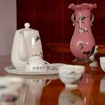 tea cups, tea pot, vase