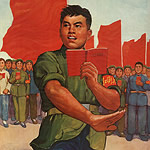 Chinese people holding red books with a flag behind them