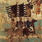 cave painting of soldiers on horseback carrying banners
