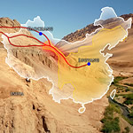 map of China showing part of Silk Road route