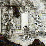 painting showing men raiding and burning a house