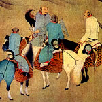 painting of men on horse-back holding falcons