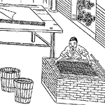 woodblock print of man making paper