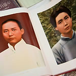 two images of Mao Zedong shown in a book