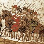 image showing a caravan of travellers on horseback and camels