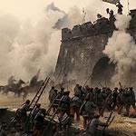 soldiers fighting below fort walls