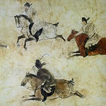 cave painting of men on horse-back playing polo