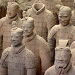 terracotta statues of soldiers