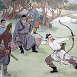 painting of men watching another man shooting an arrow