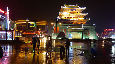 night scene in public square in Kaifeng