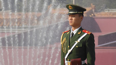 Chinese soldier standing at attention