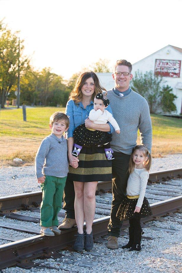 Jordan and Matthew Cox with children Gavin, Harper and Poppy