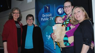 Debra McBain, Georgann Herbert (DPTV), Andrea Andamaro and Katie Moriarty at the pre-screening of the Call the Midwife premiere.