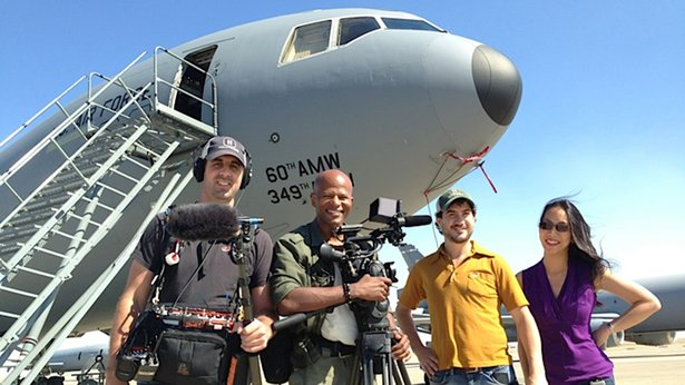 Audio Zack Allen, DP Keith Walker, and producers Joe Sousa and Emily Chou at Travis Air Force Base in California.