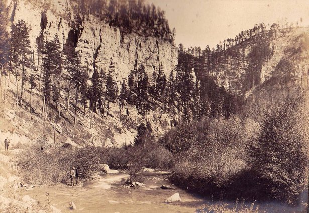 These early scenes of Spearfish Canyon show the limestone and sparkling water that Anna describes in her diary, 1903.