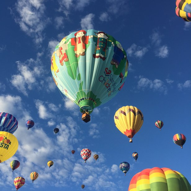 modern balloons in flight