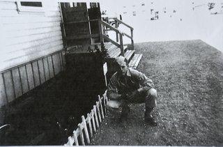 Bill Lofgren Outside his Barracks at Camp Roberts