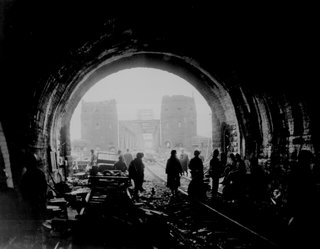 First U.S. Army men and equipment pour across the Remagen Bridge