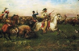 painting of 1870s buffalo hunt