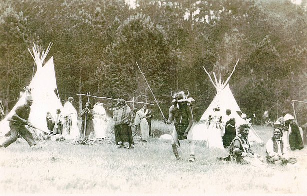 re-enacted native encampment